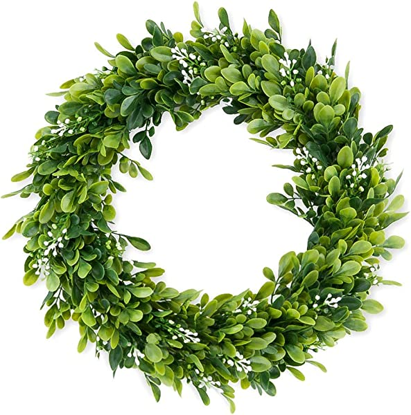 Landy 14 Eucalyptus Wreath Artificial Wreath Door Wreath Leaves Wreath Eucalyptus Garland For Home Front Door Office Wall Wedding Decor