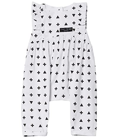 TINY TRIBE Graphic Frill Balloon Romper (Infant) (White) Girl