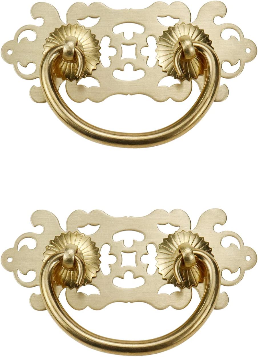 Geesatis 2 Pcs Vintage Pull Handles Ring Cabinet Brass Handles Furniture Decor Closet Drawer Pulls Handles, with Mounting Screws, Gold