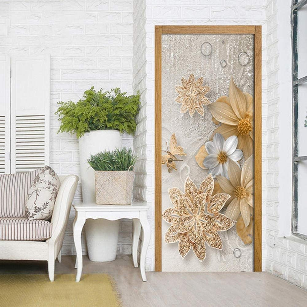 3D Classic Door Dealing full price reduction Decals Wall Self-Adhesive Sticker Max 62% OFF Removable Post