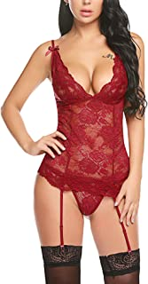 Avidlove Women's Lace Babydoll with Garter Mini Teddy Bodysuit Sexy Lingerie Backless Chemise