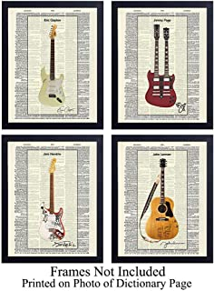 Famous Musicians Guitar - Unframed Dictionary Wall Art Print - Great Gift for Music and Rock n Roll Fans - Cool Home Decor - Lennon, Hendrix, Page, Clapton - Ready to Frame (8x10) Vintage Photo