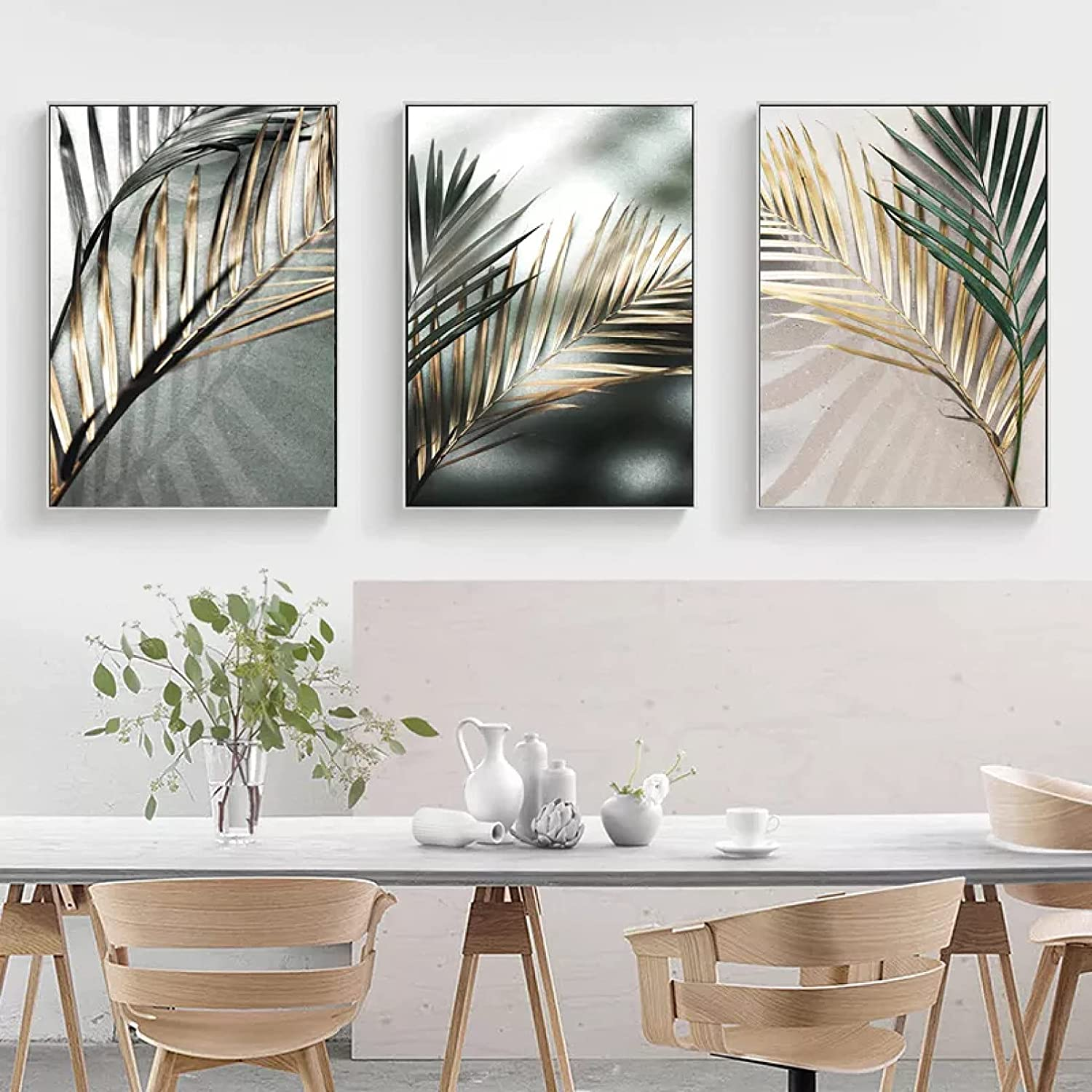 WACZJ 3 Pictures Print Easy-to-use Decorative Palm Leaf Canvas Golden Decora Limited time sale