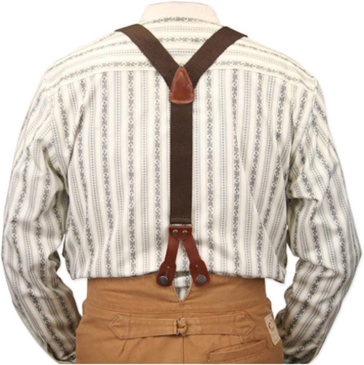 Historical Emporium Men's Canvas Stagecoach Y-Back Button End Suspenders
