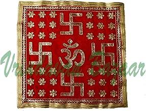 Large om & swastik Decorated Velvet Aasan with Zari Embroidery- VRINDAVANBAZAAR.COM (19.5 x 19.5 inches)