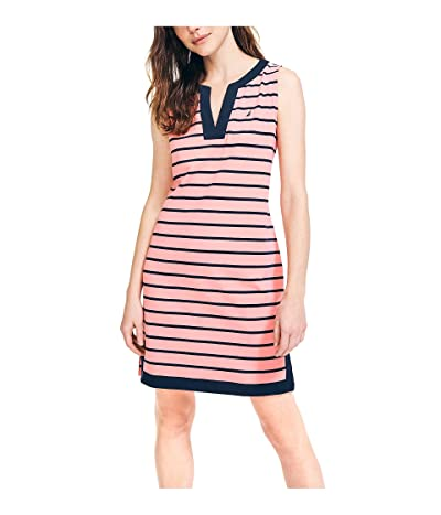 Nautica Breton Stripes Sleeveless V-neck Stretch Cotton Polo Dress