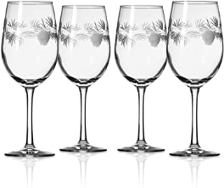 Rolf Glass Icy Pine White Wine Glass 12 ounce - Stemmed Wine Glass Set of 4 - Lead Free Crystal - Etched Wine Glasses - Made in the USA, Designed by Thomas Conrad, Pittsburgh