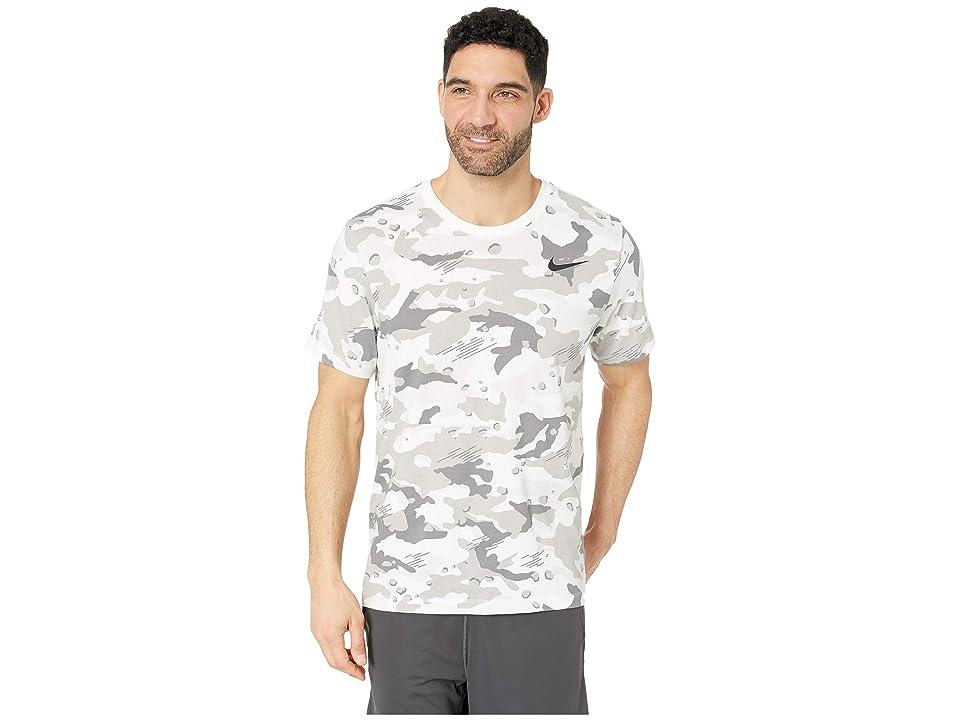 Nike Dry Tee Dri-FITtm Cotton Camo All Over Print (White/Black) Men