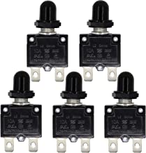 RKURCK AC 125/250V Push Button Reset 10A Circuit Breakers Thermal Overload Protector with Quick Connect Terminals and Waterproof Button Black Cap(5 Pcs)
