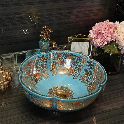 Gorheh Blue Flower Western Antique Chinese Ceramic Colored Bathroom Basin Hand Wash Bowls Sink Bathroom Sink Chinese Art Basin Amazon Co Uk Home Kitchen