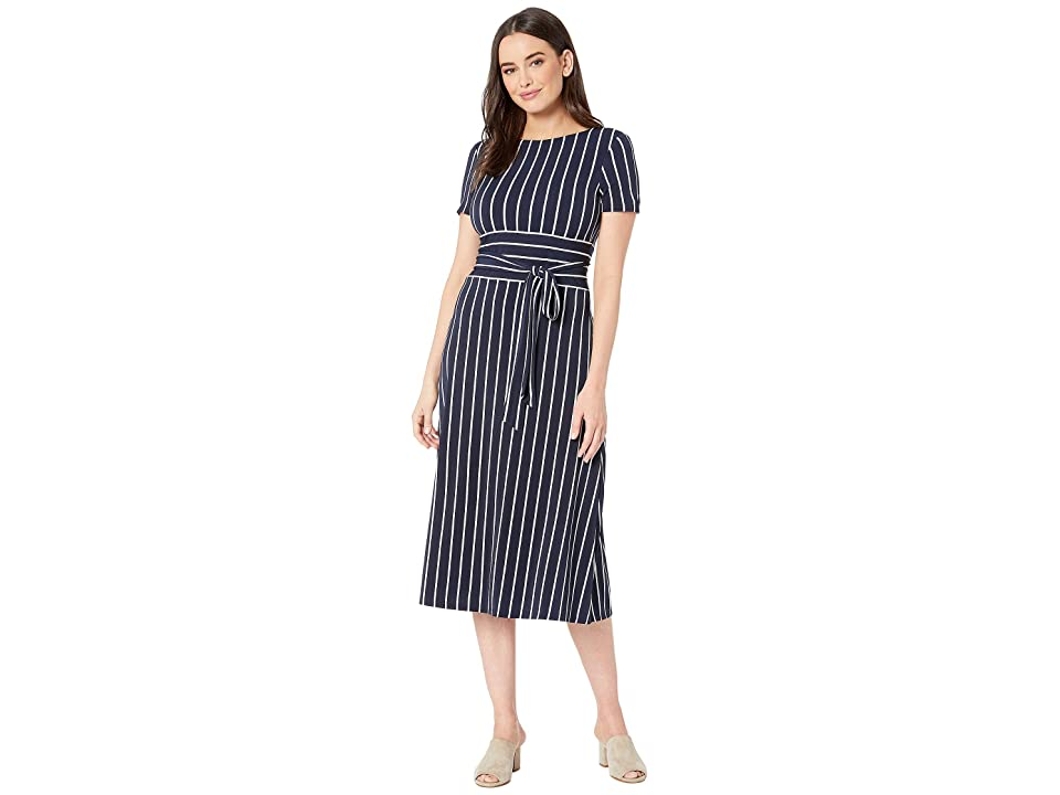 LAUREN Ralph Lauren C3 Driver Stripe Kristie Dress (Lighthouse Navy/Colonial Cream) Women