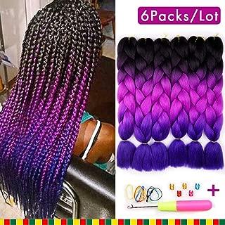6 Pcs Ombre Braiding Hair Synthetic Hair Crochet Braids Kanekalon Fiber 24inch Jumbo Braids 100g Hair Extensions 3 Tone (Black to Purple to Blue)