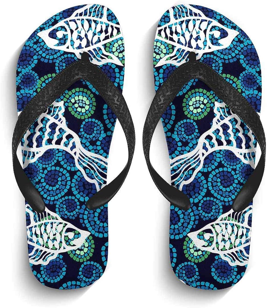 InterestPrint Non-Slip Flip Flop Slippers Cute Wild Animals Black Straps Slim Thong Sandal for Men