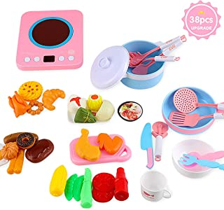 Kids Kitchen Pretend Play Accessories Toys,MOICO 38pcs Pretend Toy Kitchen Cookware Playset Pots and Pans Cooker with Light Sound,Cooking Utensils, Food Play Set for Toddlers Girls Boy Birthday Gifts