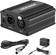Neewer 1-Channel 48V Phantom Power Supply with Adapter, BONUS+XLR 3 Pin Microphone Cable for Any Condenser Microphone Musi...