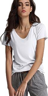 Escalier Womens Short Sleeve V-Neck T-Shirt Casual Basic Solid Tees