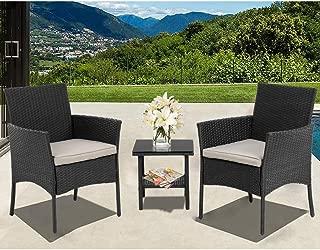 Wicker Patio Furniture 3 Piece Patio Set Chairs Bistro Set Outdoor Rattan Conversation Sets with Garden Outdoor Furniture Sets,Black
