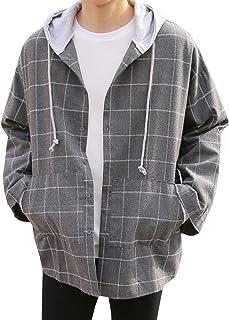 MEOSIDDA ジャケットメンズ テーラード ジャケットコートアウター 大人のチェック面 カジュアルフード付き 大きめのサイズ シンプル