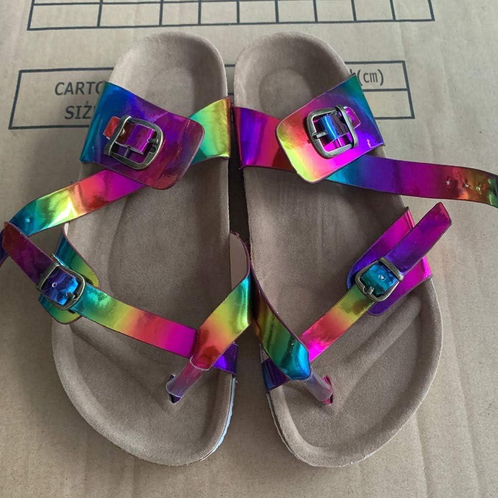 MITCOWBOYS Multicolor Sandals Womens Casual Beach Flip Flips Summer Walking Flat Sandals Slide Slippers