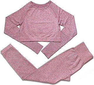 Seamless Yoga Pants Female Elastic Leak Navel Short Top Tight Fitness Pants Suit,Pink,L