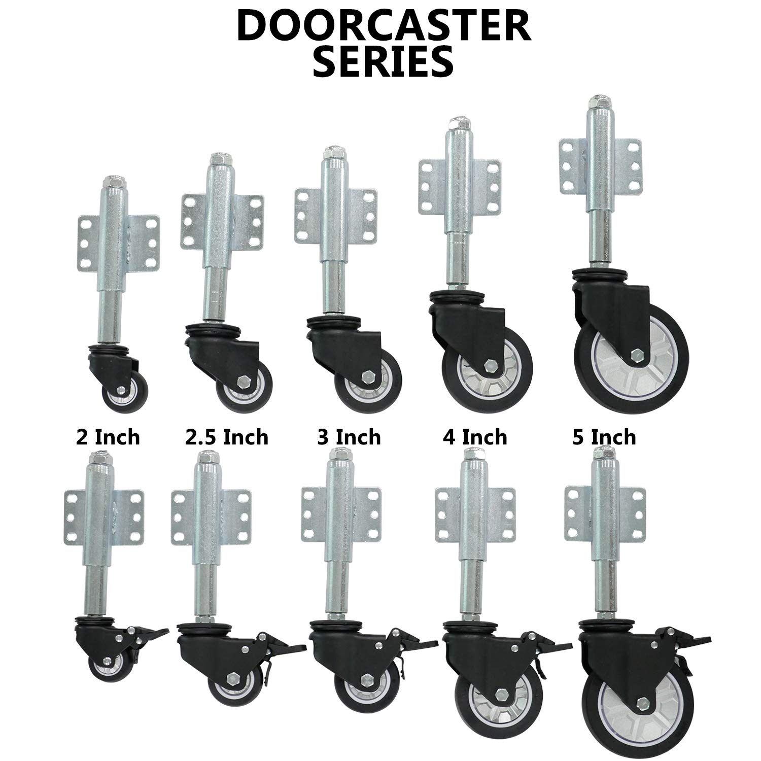 Casoter 3-Inch Spring Load Door Caster Swivel TPU Thermoplastic Polyurethanes Wheel with 6 Holes Side Mount Plate Ball Bearing Retractable Stem Max 110Lbs//50Kg Load Capacity for Garden Gate