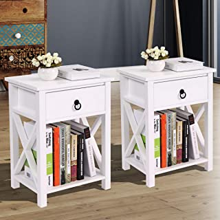 JAXSUNNY Set of 2 End Table Side Table Wooden X- Shaped Nightstand with Drawer and Storage Shelf, White Night Stand