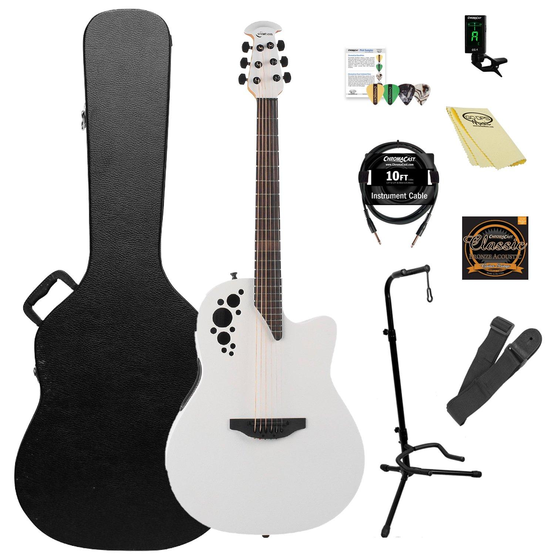Ovation Elite TX AA Sólido abeto superior guitarra electroacústica Kit con ChromaCast accesorios), color blanco: Amazon.es: Instrumentos musicales