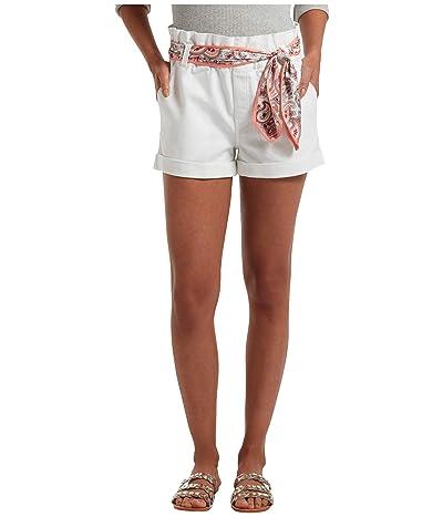 HUE Paperbag Waist Ultra Soft Denim High-Waist Shorts (White) Women