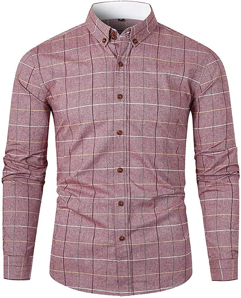 YAYUMI Men's Plaid Shirt Printed Pocket Long Sleeve Fashion Casual Top Button Lapel Jacket