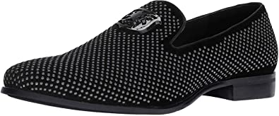 STACY ADAMS Men's Swagger Studded Ornament Slip-on Driving Style Loafer