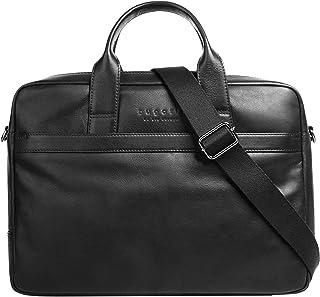 Bugatti Corso Leder Businesstasche für Damen und Herren mit 15 Laptopfach, Arbeitstasche Aktentasche Große Bürotasche, Schwarz