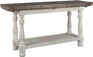 Signature Design by Ashley - Havalance Flip Top Sofa Table, Whitewash/Brown Wood