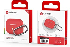 Baykron PT-P1RD Silicone Case Airpods Pro W/Carabiner RED