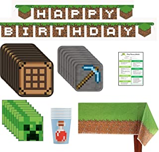 Minecraft Inspired Birthday Party Supplies Pack: Big/Small Plates, Cups, Napkins, Table Cover, Banner - 16 Guests