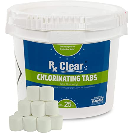 Rx Clear 1 Inch Stabilized Chlorine Tablets Use As Bactericide Algaecide And Disinfectant In Swimming Pools And Spas Slow Dissolving And Uv Protected 25 Lbs Garden Outdoor