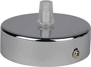 Florón cromo | embellecedor para lámpara de techo, suspensor estándar tamaño m10, 80x25 mm | incl. pasacables/prisionero para fácil montaje | Buchenbusch Urban Design (1 unidad)