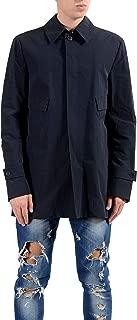 Versace Collection Men's Navy Blue Button Up Pea Coat US S/M IT 48