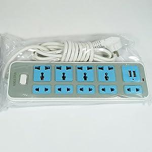 Electricity Joint- 2500Watt 10A/240V, Dual USB Ports 5V 2.1A