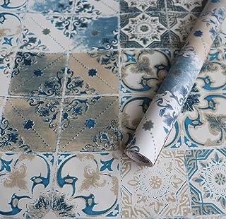 DWIND H1229 Peel & Stick Morrocan Tile Wallpaper Self Adhesive Blue Brick Tile Paper For Furniture Kitchen Countertop Tabl...