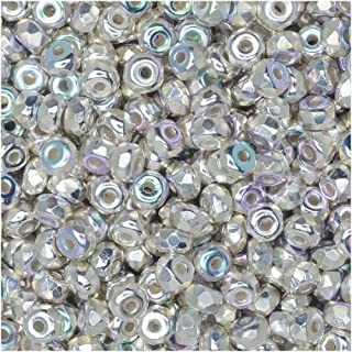 True2 Czech Fire Polished Glass, Faceted Micro Spacer Beads 2x3mm, 100 Pieces, Fine Silver Plated AB
