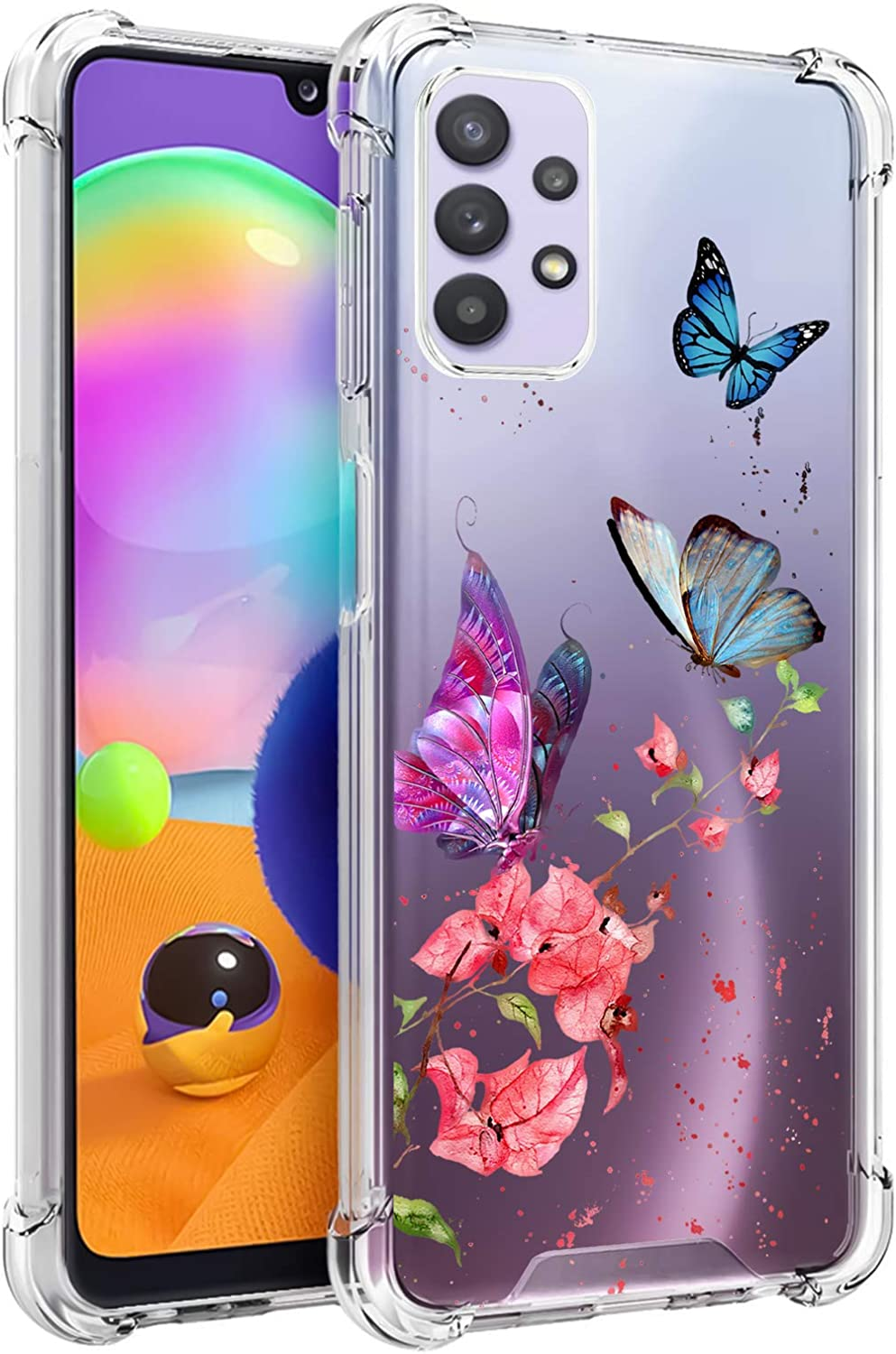 LSL Samsung Galaxy A32 5G Clear Case Butterflies and Flowers Floral Cute Design Pattern Hard PC Back + Soft TPU Edges Full Body Protection Wireless Charging Cover for Galaxy A32 5G 6.5 Inch