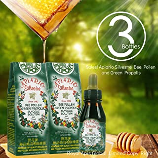 Official Distributor - 3 Bottles of Apiario Silvestre Bee Pollen & Brazil Green Bee Propolis Liquid - Glycolic Extract-Non Alcoholic, Wax Free, Sugar Free