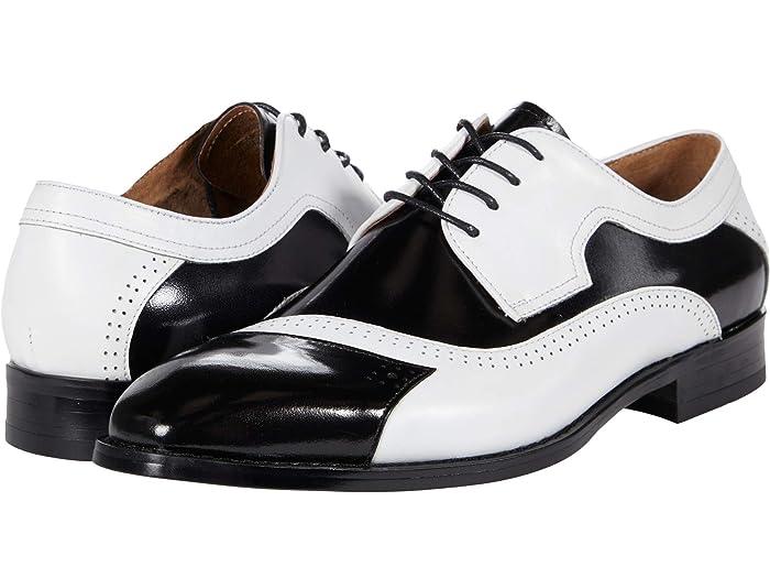Mens Vintage Shoes, Boots | Retro Shoes & Boots Stacy Adams Paxton Cap Toe Oxford BlackWhite Mens Shoes $124.95 AT vintagedancer.com