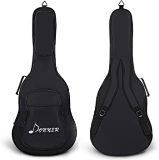 Donner 41 Inch Acoustic Guitar Gig Bag 0.47 Inch Thick Backpack Soft Case Cover Adjustable Strap Waterproof Nonwovens Interior Thicken Sponge Pad Two Pockets Black