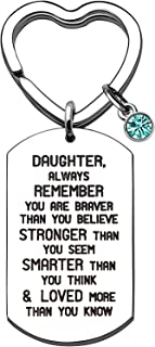 Weforu Daughter Keyring with Acrylic Rhinestones, Inspirational Daughter Gifts from Mum Dad Stainless Steel Dog Tags Cryst...