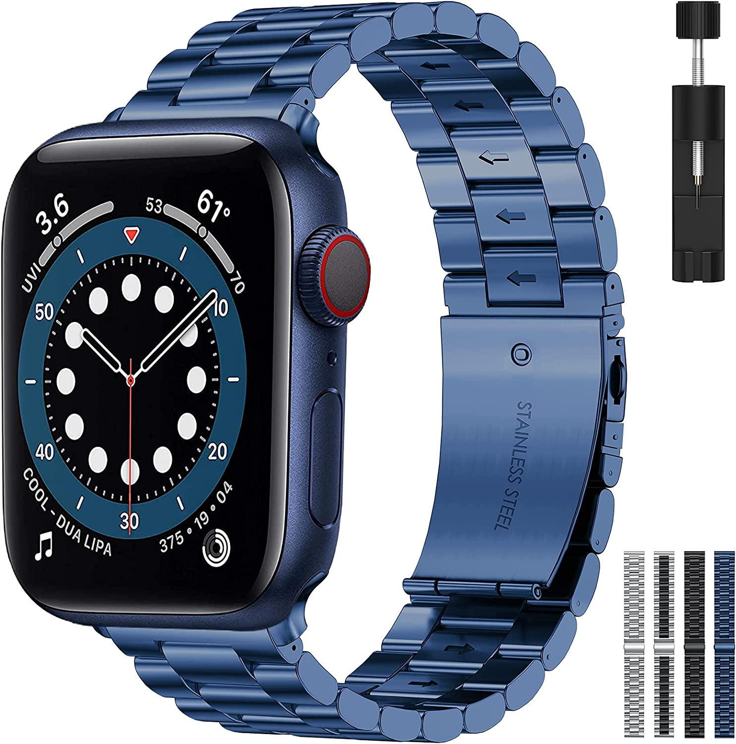 RARF Metal Band Compatible with Apple Watch 38mm 40mm 42mm 44mm for Women Men, Replacement Stainless Steel Strap Wristband Bracelet Compatible with iWatch Series SE/6/5/4/3/2/1(Blue, 42/44mm)