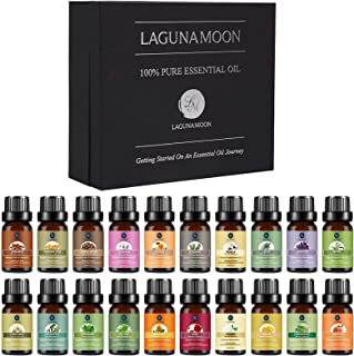 Lagunamoon Premium Essential Oils Set,Top 20 Pure Natural Aromatherapy Oils Lavender Frankincense Peppermint Rose Rosemary...