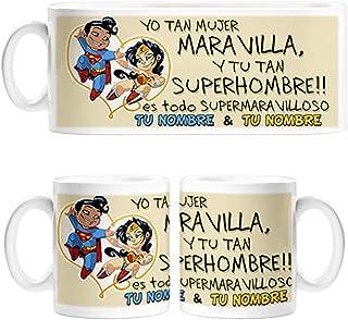 fb6c8ebbf7e Taza yo tan mujer maravilla Wonder Woman y tu tan super hombre Superman  personalizable con nombre