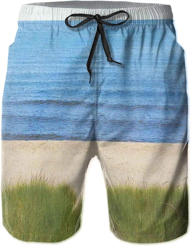 MUJAQ Calm Sea Beach Scenery Tranquil Calm Resting Place Sacred Dream World Concept Mens Swim Trucks Shorts with Mesh Lining,M