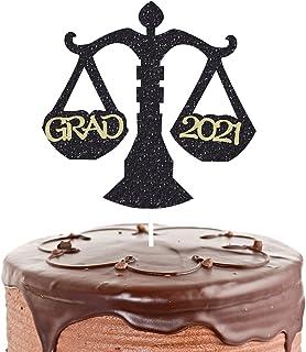 Grad 2021 Cake Topper for Lawyer Theme Grad Party Decorations, Graduation Party Congrats Grad 2021, Libra Sign (Black Glit...